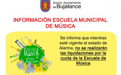 Información sobre la Escuela Municipal de Música – COVID19